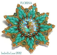 FLORINA Pendant Exclusively PDF Beading tutorial with SuperDuo for personal use only. $9.00, via Etsy.