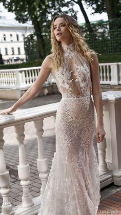 lian rokman 2018 bridal halter high neck full embellishment glamorous sexy elegant fit and flare sheath wedding dress keyhole back sweep train (4) mv -- Lian Rokman 2018 Wedding Dresses