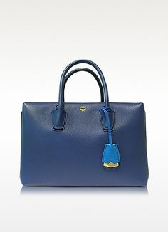 Milla Navy Blue Leather Medium Tote - MCM Bright Blue Classic Romantic Leather Autumn And Winter Best Price Colourful Haute Couture Women Fashion Rare Nice Beautiful Pretty Classy Vintage Style Girl Chic Stylish Inspiration Idea European Wear Clothing Casual Awesome Cool Gorgeous Outfit Look Sexy Street