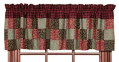 """Lancaster 16x72"""" Patchwork Lined Valance by Victorian Heart Co., Inc.. $21.95. Machine pieced and hand stitched. 100% cotton. Bath, window, bedding and kitchen coordinates also available.. Rich reds, burgundies, and greens in a classic diamond block patchwork pattern.. 16x72"""" Patchwork Valance. Lancaster showcases rich reds, burgundies, and greens in a classic diamond block patchwork pattern. Quilts reverse to tight dark brown floral pattern. Coordinating bed skirts o..."""
