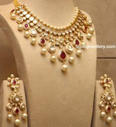 Polki Ruby Necklace and Earrings Set