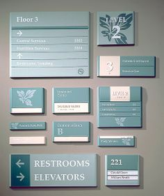 Not the prettiest... but an example of a complete interior signage system.