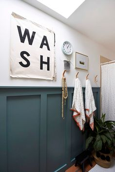 See how to spruce up your guest bathroom by learning how to build a modern Board and Batten Accent wall treatment and a gorgeous deep teal paint color! Delineate Your Dwelling - How to build a modern Board and Batten Accent Wall Teal Accent Walls, Accent Wall Colors, Teal Walls, Painting An Accent Wall, Chevron Walls, Wall Accents, Bathroom Accent Wall, Bathroom Accents, Bathroom Wall Board