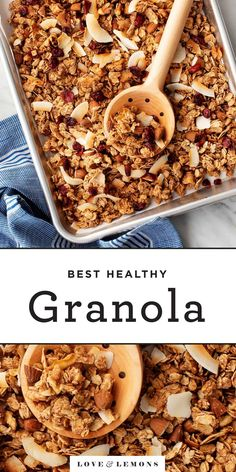 Learn how to make the BEST healthy granola! Made with oats, nuts, coconut, dried fruit, and maple syrup, this homemade granola recipe is easy to make and totally delicious. The perfect breakfast or snack! Breakfast And Brunch, Perfect Breakfast, Breakfast Snacks, Breakfast Recipes, Vegan Breakfast, Best Granola, Vegan Granola, Granola Bars, Vegan Snacks