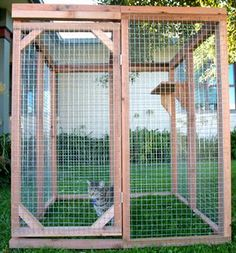 Economy Cat Enclosure Kit.  All economy kits are 4 ft. tall, made of solid redwood and galvanized steel wire and are 4 sided with a top, enabling them to be freestanding. They include an adjustable shelf and full-size door so you can enter too!
