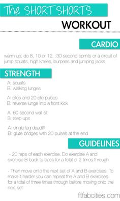 Motivational fitness and diet blog with the short shorts workout