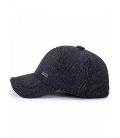 Men s Winter Warm Woolen Tweed Peaked Baseball Cap Hat With Fold Earmuffs -  Black - CY189OXG65D 4b81941623b4