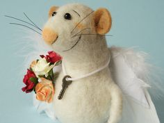 Needle felted Mouse Angel. St Valentines Mouse. Gift. Mouse with roses and key to Your heart. Say - I love You. Wedding Mice. Cake topper by OlgaHappyHandmades on Etsy