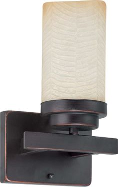 Lucern Energy Star 1 Light Vanity with Saddle Stone Glass - (1) 13w GU24 Lamp Included by Nuvo Lighting - 60-3841