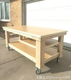 This DIY Garage Workbench is the perfect mobile, multifunctional build to organize your garage and complete your projects all in one space. Garage How to Build the Ultimate DIY Garage Workbench - FREE Plans Workbench On Wheels, Workbench Plans Diy, Mobile Workbench, Woodworking Workbench, Easy Woodworking Projects, Popular Woodworking, Woodworking Furniture, Furniture Plans, Woodworking Shop