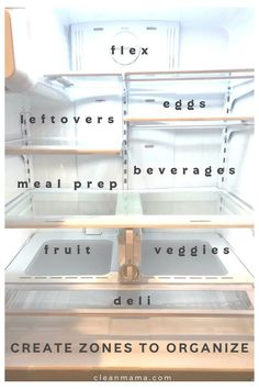 How to Clean and Organize a Refrigerator and Freezer – Clean Mama and Organization Freezer Organization, Refrigerator Organization, Kitchen Organization Pantry, Home Organisation, Organize Freezer, Organized Fridge, Organized Home, Fridge Storage, How To Clean Freezer