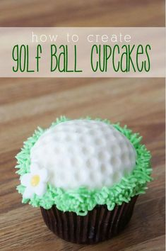 Golf Ball The Welch Cupcakery: How to Create Golf Ball Cupcakes - Can you smell that? That's fresh air, folks. And above zero temperatures. You remember those, right? Those temperatures that don't freeze your lungs in their tracks? I had almost forgot… Golf Cupcakes, Cupcake Cookies, Golf Ball Cake, Golf Cookies, Tennis Cake, Mademoiselle Cupcake, Cupcake Recipes, Dessert Recipes, Cupcake Ideas