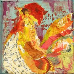 torn paper paintings | Torn Paper Rooster 3 Mixed Media