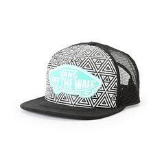 Made with a lightweight construction and adjustable snapback sizing piece, this trucker hat has a geo print at the front with a contrasting logo patch for a classic look. Mint Vans, Vans Hats, Vans Off The Wall, Cute Hats, Headgear, Snapback Hats, Shoes Heels Boots, Adidas Women, My Style