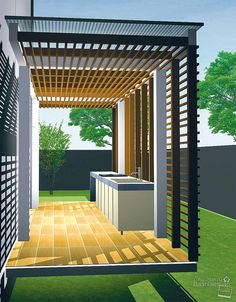Pergola For Front Of House Dirty Kitchen Design, Outdoor Kitchen Design, Patio Design, Exterior Design, Interior And Exterior, House Design, Kitchen Small, Bathroom Design Small, Diy Bathroom Decor