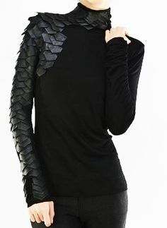 """Couture Black Leather """"The Raven"""" Knit Long Sleeve Smock Tunic/Top, $104.00 (http://www.kamishade.com/tops-tunics-blouses-shirts/couture-black-leather-the-raven-knit-long-sleeve-smock-tunic-top/)"""