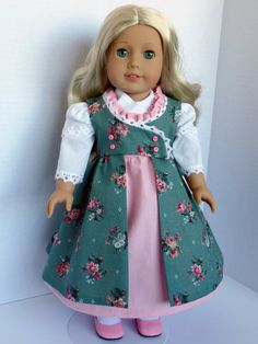 SPECIAL REQUEST Regency Dress with Pinafore and Fichu for Most 18 Inch Dolls