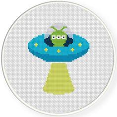 Alien UFO Cross Stitch Illustration
