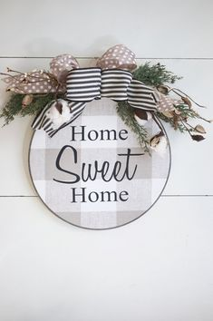 Farmhouse Wreath Buffalo Plaid Home Sweet Home Sign Wall Decor Barnwood Newlywed Ornament New Home Ornament Engagement Ornament Diy Signs, Wall Signs, Christmas Crafts, Christmas Decorations, Christmas Ornaments, Crafts To Make, Fun Crafts, March Crafts, Decor Crafts
