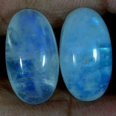 21.50Ct Natural Rainbow Moonstone Matched Pair Oval Cabochon For Earring Jewelry #Handmade