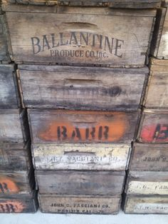 Vintage Fruit Boxes - Fruit Lugs - Fruit Crates - Old Wood Box - Wall Shelf - Storage Bins - Wood Crate - Rustic Crate