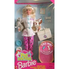 Barbie Pet Doctor Doll w Cat  Dog  Accessories (1996)