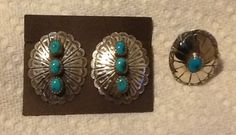 Sterling Silver clip-on earrings and ring (size 7) earrings
