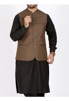 men brown waistcoat with black kurta men eid kurta shalwar kameez and waistcoat dress designs 2017 by Junaid Jamshed