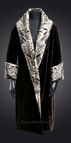 Coat, Anart, Paris, ca. 1923-28. Black silk velvet; metallic thread and cotton twill (lamè); rayon embroidery in chain stitch; silk velvet appliqués; beads and sequins. Philadelphia Museum of Art