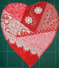I ❤ crazy quilting & embroidery . . . Heart for Gea- she wants hearts for a quilt to make, & not only if she becomes very ill . . .