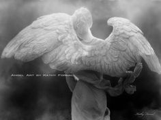 "Angel Art Print - Spiritual Angel Wings - Black and White Photograph of Surreal Angel Wings Ethereal Fine Art Photograph 8"" x 12"