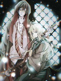 As Hogwarts students.❤❤😍😍 HP is one of my fav stories too Angel Of Death, Manga Anime, Anime Art, Sad Anime Girl, Satsuriku No Tenshi, Rpg Horror Games, Avatar Couple, Anime Angel, Anime Couples