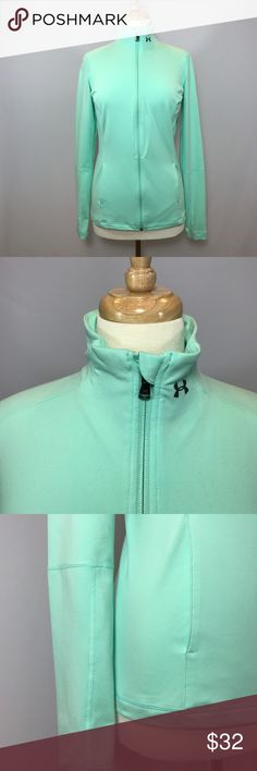 Under Armour Polyester&Elastane Mint Jacket Size M Website - 	WWW.THECHICAGOCONSIGNMENT.COM 	 Instagram - 	@CHICAGOCONSIGNMENT 	 Condition -	VERY GOOD 	 Brand -	 	 SKU -	485-RSL 	 Retail Price -	$189  	 Size -	MEDIUM 	 Fit - 	REGULAR 	 Material - 	POLYSTER & ELASTANE 	 Sleeve length -	26 	 Length -	25 	 Hip - 	 	 Inseam - 	 	 Waist - 	18.5 	 Bust -	18 	 Color - 	MINT 	 Stretch -	EXTRA 	 Ankle - 	 	 Add'l Info. -	FRONT SLIT POCKETS 	 Note - 	NO TRANSACTIONS OFF POSH.  WE BUNDLE DISCOUNT AND…