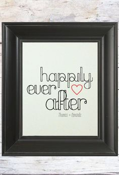 Happily Ever After // Personalized Newlywed Christmas Gift  // by LADYBIRDINK, $19.00