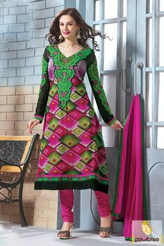 The black green and pink chiffon embroidery party wear salwar suit appears…