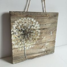 Dandelion on rustic wood,reclaimed wood,original handmade – – Home Design Pallet Painting, Painting On Wood, Rustic Painting, Handmade Home Decor, Unique Home Decor, Handmade Signs, Handmade Ideas, Arte Pallet, Palette Diy