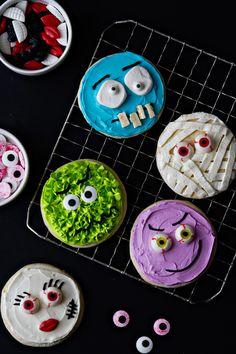 Halloween just got a little cuter with these neon-hued, super silly decorated monster cookies.