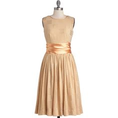 ModCloth Vintage Inspired Long Sleeveless A-line Refined Finalist... ($39) ❤ liked on Polyvore featuring dresses, modcloth, apparel, orange, beige long dress, orange dress, polka dot dress, long dresses and beige dress