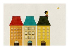 """On the roof"" giclee print by Blanca Gomez found on Poster Caberet  #print #paper"