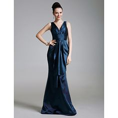 TS Couture® Formal Evening / Military Ball Dress - Elegant Plus Size / Petite Trumpet / Mermaid V-neck Floor-length Satin / Stretch Satin with Criss – CAD $ 111.19