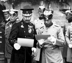 IMAGE- Kings and cousins: Wilhelm II and George V before the war, when both men wore the military uniforms of each others' countries' forces. (source:IWM/Dailymail)  Explanation of Photo  The close familial links between the British and German monarchs in 1914 – George V and Kaiser Wilhelm II were both grandchildren of Queen Victoria – meant that George held the honorary ranks as a German Field Marshal and as a Colonel of German regiments.