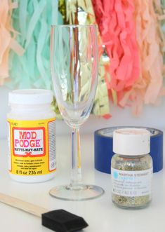 DIY Glittered Champagne Flute Supplies
