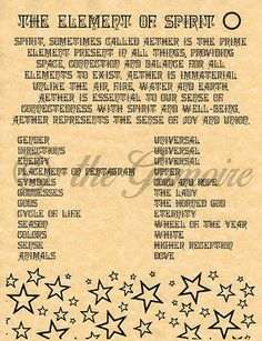 Element of Spirit, Book of Shadows Spell Page, Witchcraft, Wicca, Pagan, BOS