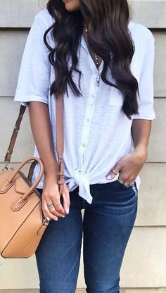 #fall #outfits women's white button-up elbow sleeve top and blue jeans outfit