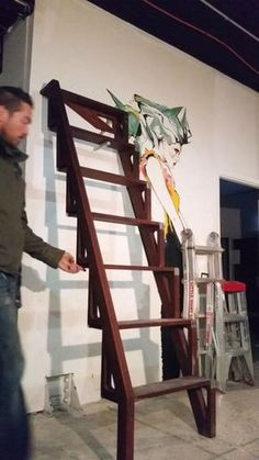 Folding up and down of the Bcompact stairs, Hardwood ladder version. : Folding up and down of the Bcompact stairs, Hardwood ladder version. Bunk Bed Ladder, Stair Ladder, Diy Ladder, Folding Attic Stairs, Folding Ladder, Loft Staircase, Staircase Design, Retractable Stairs, Tiny House Stairs