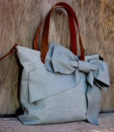 Leather Bow Bag in Blue Gray Gator Leather with Brown Mustang Oiled Leather Straps by Stacy Leigh Ready to Ship $350