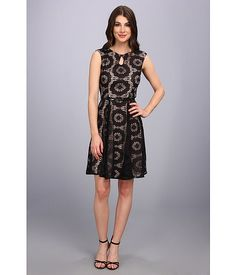 London Times Cap Sleeve Keyhole Tie Fit & Flare Dress Black/Nude - 6pm.com