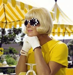 Doris Day stylin in yellow: This is just a fabulous picture of the times.  The mod look, the bright lemon yellow and classy gloves.