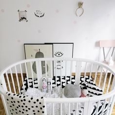 Nursery with pink chair and black & white bedding… Nursery Furniture, Nursery Room, Girl Nursery, Girl Room, Kids Bedroom, Baby Decor, Kids Decor, Nursery Inspiration, Nursery Ideas