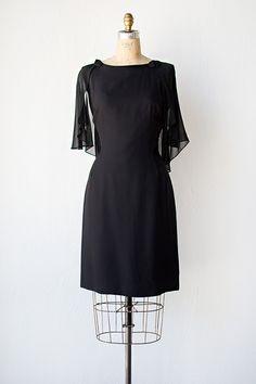 vintage 1960s black cocktail dress with sheer cape